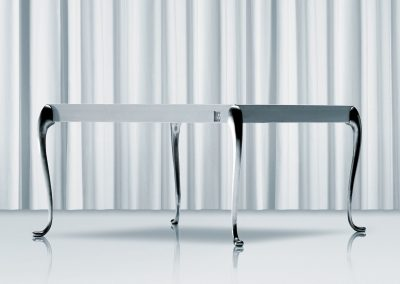 Flightdeck dining table 110x110x73cm with brushed table legs. Design Morten Voss